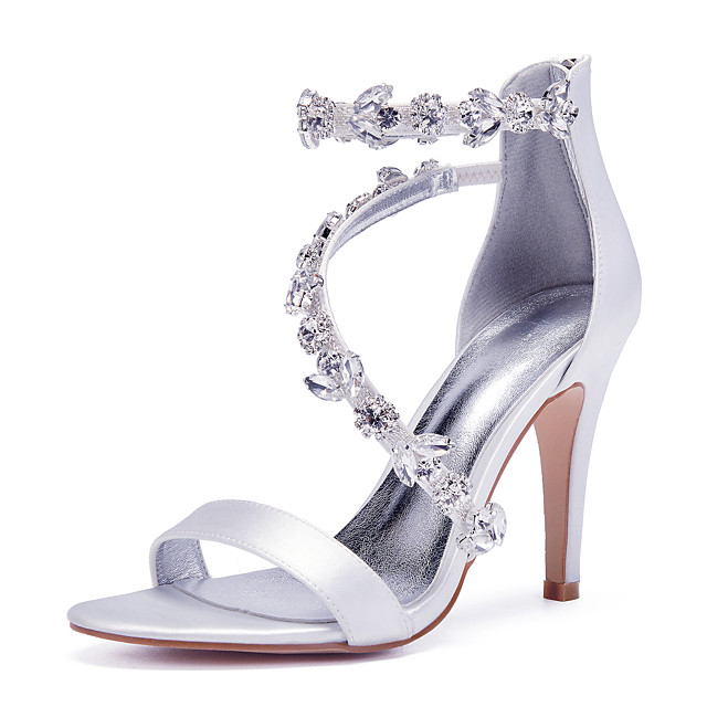 Women's Wedding Shoes Glitter Crystal Sequined Jeweled Stiletto Heel Round Toe Basic Wedding Party & Evening Satin Crystal Solid Colored Summer White Black Purple