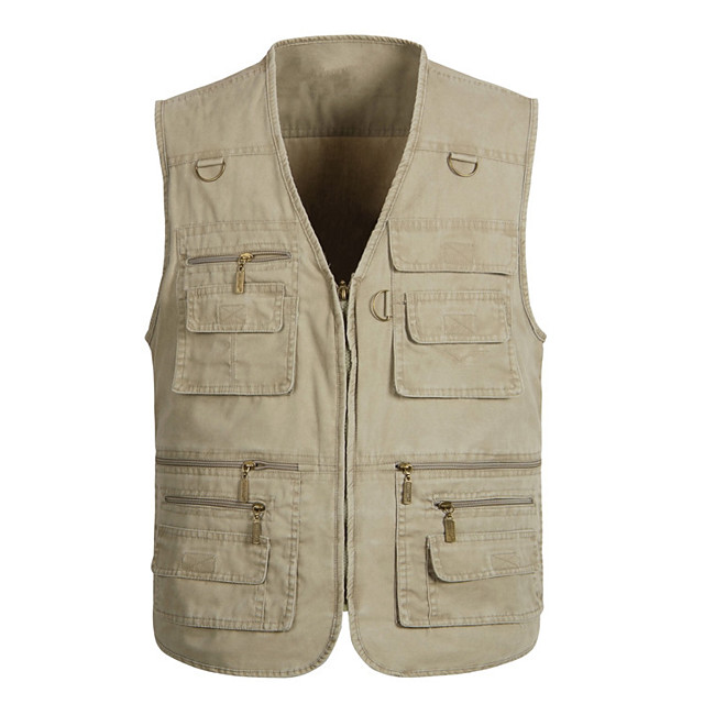 Men's Hiking Vest / Gilet Fishing Vest Outdoor Solid Color Windproof Quick Dry Fast Dry Wearable Top Denim Single Slider Fishing Outdoor Exercise White / Army Green / Grey / Multi Pocket