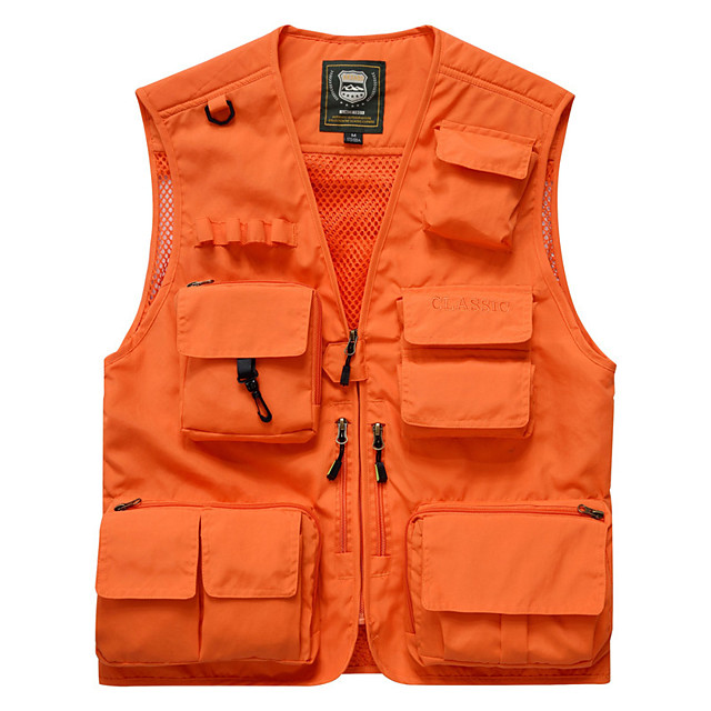 Men's Hiking Vest / Gilet Fishing Vest Outdoor Solid Color Breathable Quick Dry Wear Resistance Multi Pocket Jacket Top Nylon Single Slider Fishing Hiking Climbing Red / Army Green / Grey / Orange