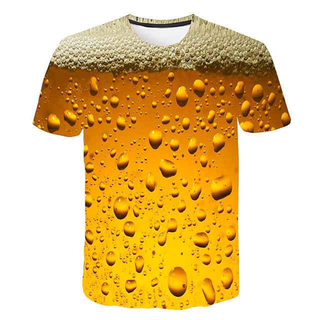 Men's T shirt 3D Print Graphic Beer Print Short Sleeve Daily Tops Basic Streetwear Purple Red Yellow
