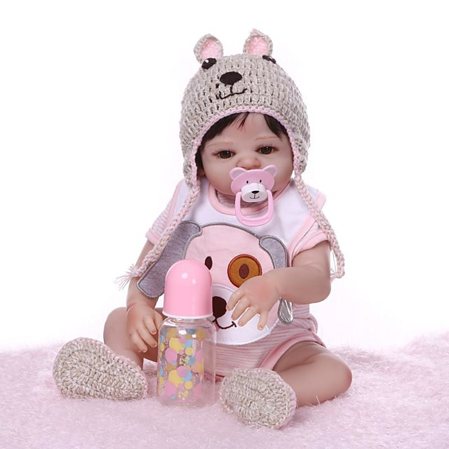 NPKCOLLECTION 20 inch Reborn Doll Baby Girl Gift Hand Made Artificial Implantation Brown Eyes Full Body Silicone Silica Gel Vinyl with Clothes and Accessories for Girls' Birthday and Festival Gifts