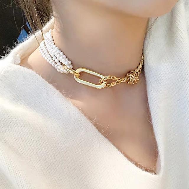Collier Choker / Ras de Cou Femme Classique Blanc Imitation de perle Tendance Dorée 35 cm Colliers Tendance Bijoux 1pc pour Plein Air Soirée