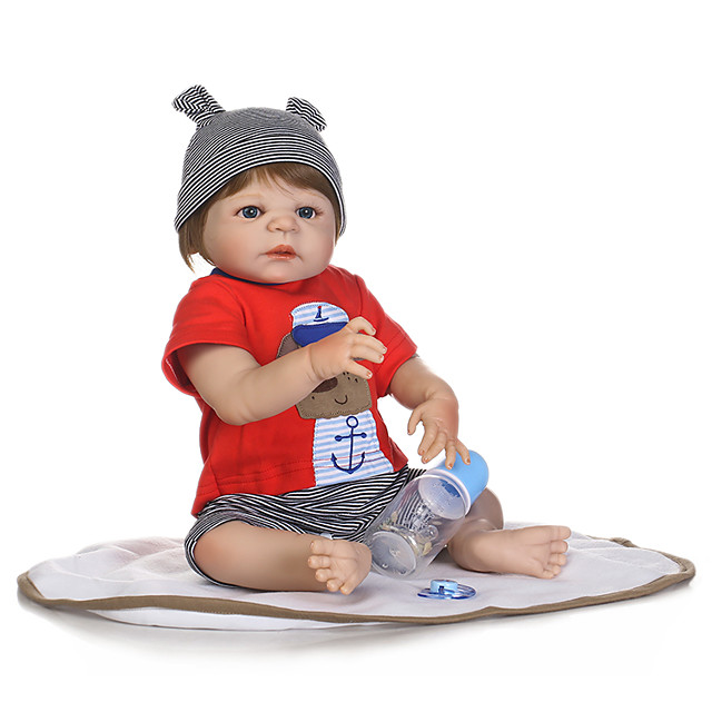 NPKCOLLECTION 20 inch Reborn Doll Baby Boy Cute New Design Artificial Implantation Blue Eyes Full Body Silicone Silica Gel Vinyl with Clothes and Accessories for Girls' Birthday and Festival Gifts