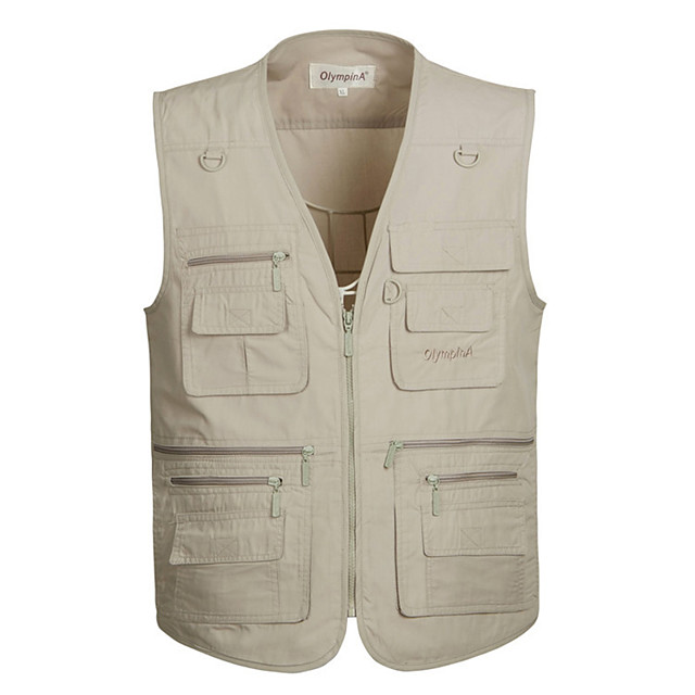 Men's Hiking Vest / Gilet Fishing Vest Outdoor Solid Color Lightweight Breathable Quick Dry Wear Resistance Jacket Top Single Slider Fishing Hiking Climbing Random Colors / Army Green / Khaki / Ivory