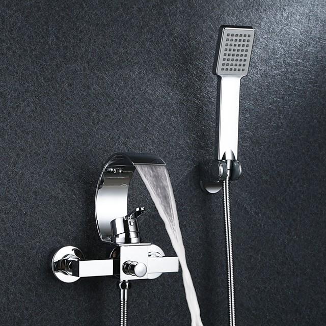 Bathtub Faucet - Contemporary Chrome Wall Mounted Ceramic Valve Bath Shower Mixer Taps