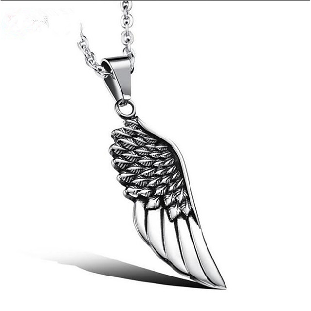Men's Pendant Necklace Classic Angel Wings Fashion Steel Stainless Silver 51 cm Necklace Jewelry 1pc For Gift Daily