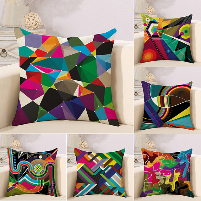 Set of 6 Cotton / Linen Pillow Case, Striped Lines / Waves Geometic Abstract Throw Pillow