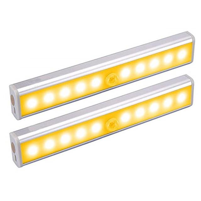 2pcs 1W 100lm 10LED Beads Light Sensor Infrared Sensor Easy Install LED Under Cabinet Lighting Warm White White Cabinet Home / Office / Kitchen