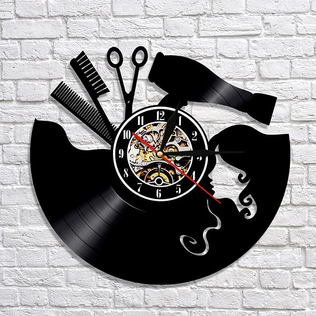 Comb scissors hair dryer beauty salon wall clock hairdresser vinyl record
