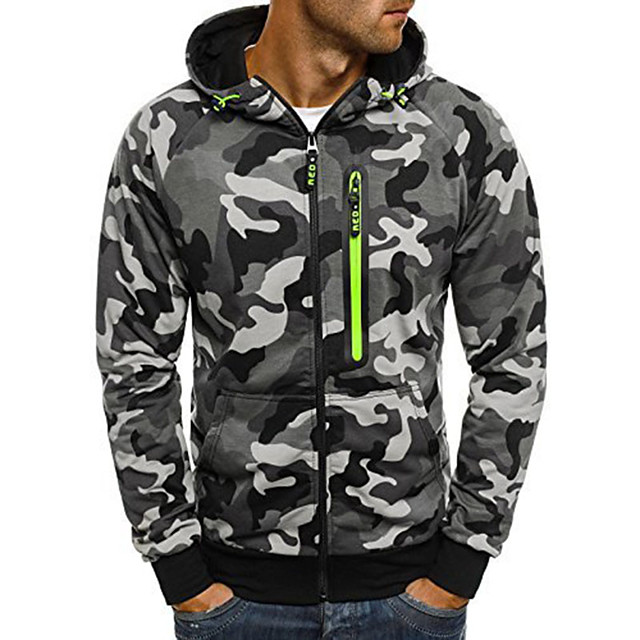 Men's Hoodie Hiking Jacket Outdoor Camo Thermal / Warm Quick Dry Sweat-wicking Comfortable Jacket Top Single Slider Camping / Hiking Climbing Outdoor Exercise Grey / Green