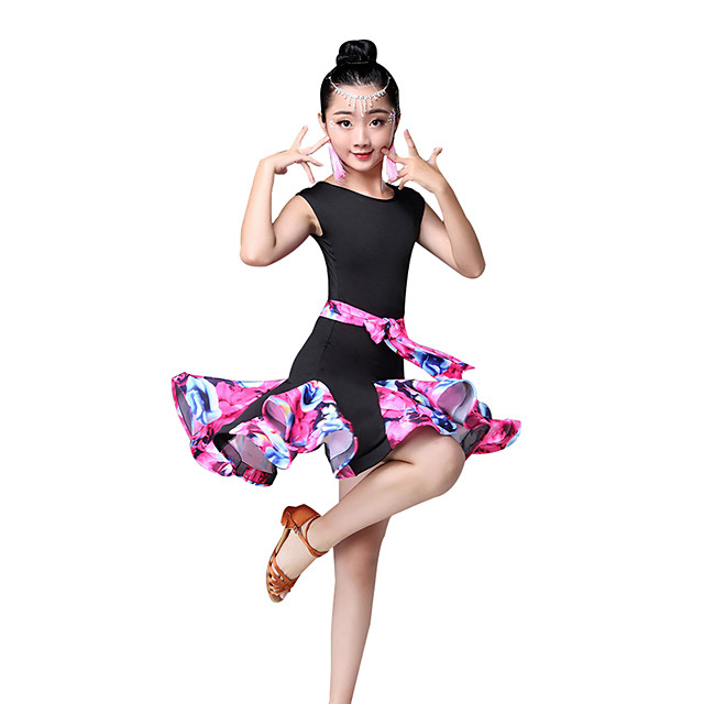 Latin Dance Kids' Dancewear Dress Pattern / Print Ruching Split Joint Girls' Performance Sleeveless High Nylon