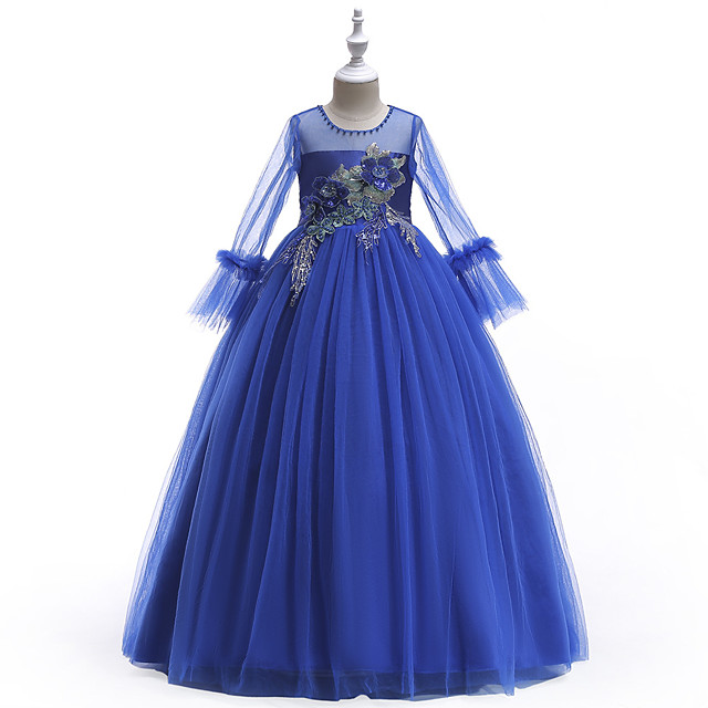 Princess Dress Flower Girl Dress Girls' Movie Cosplay A-Line Slip Cosplay Purple / Red / Blue Dress Halloween Carnival Masquerade Tulle Polyester