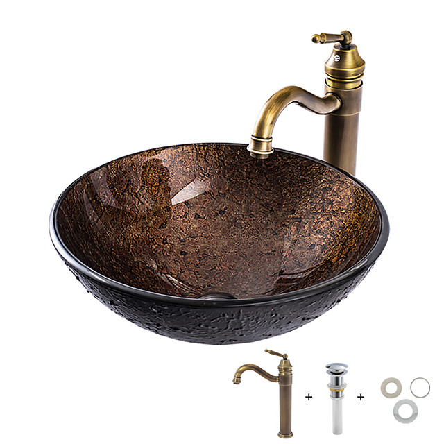 Νιπτήρας μπάνιου / Βρύση μπάνιου / Κρίκος πετσετών μπάνιου Πεπαλαιωμένο - Σκληρυμένο Γυαλί Κυκλικό Vessel Sink