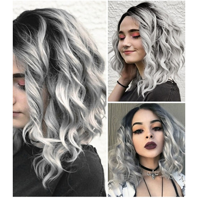 Synthetic Wig Loose Curl Middle Part Wig Long Grey Synthetic Hair 10 inch Women's Women Gray