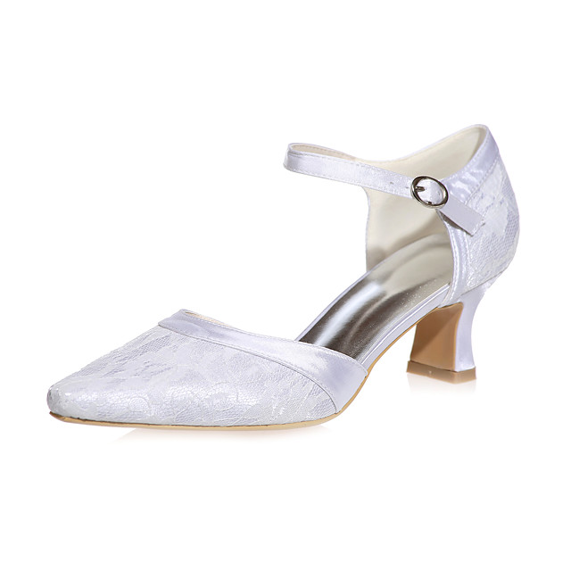 Women's Wedding Shoes Block Heel Square Toe Buckle Lace / Satin Minimalism Fall / Spring & Summer Pink / Blue / White / Party & Evening