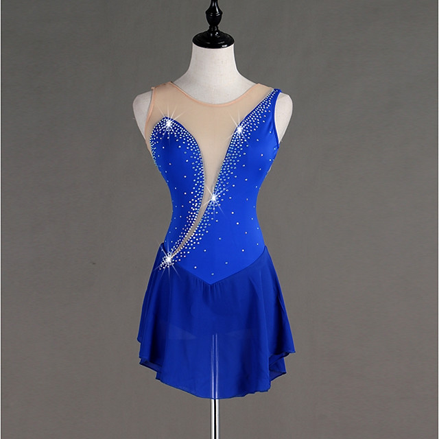 Figure Skating Dress Women's Girls' Ice Skating Dress Royal Blue Spandex Stretch Yarn Skating Wear Quick Dry Anatomic Design Handmade Classic Sleeveless Ice Skating Figure Skating