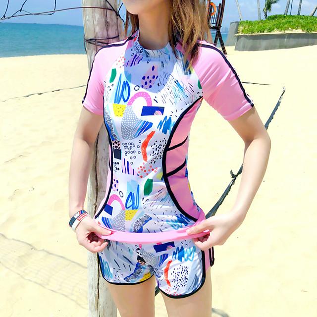 Women's Rashguard Swimsuit Nylon Spandex Swimwear UV Sun Protection Quick Dry High Elasticity Swimming Surfing Snorkeling Pattern Spring &  Fall Summer / High Rise