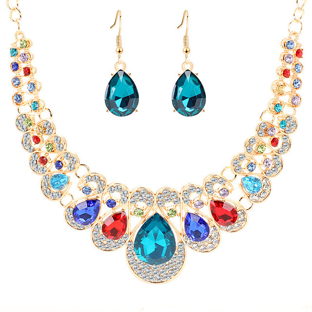Women's Crystal Drop Earrings Bib necklace Bib Pear Classic Vintage European Elegant Color Imitation Diamond Earrings Jewelry Red / Blue / Champagne For Party Ceremony Evening Party Festival 3pcs