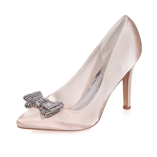 Women's Wedding Shoes Stiletto Heel Pointed Toe Rhinestone / Bowknot Satin Minimalism Fall / Spring & Summer White / Purple / Champagne / Party & Evening