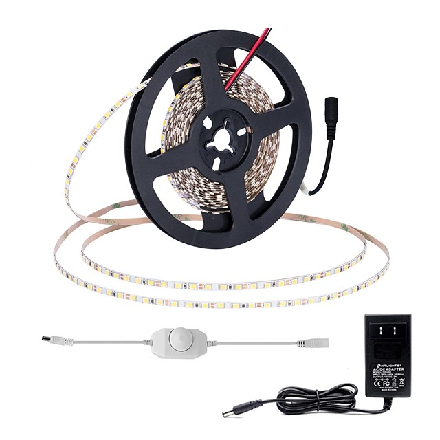 5m Light Sets LED Light Strips Flexible Tiktok Lights 5mm Width PCB 600 LEDs 2835 SMD 5mm 12V 2A Adapter and On-line Dimmer Dwitch Cold White Warm White Suitable for Vehicles Self-adhesive