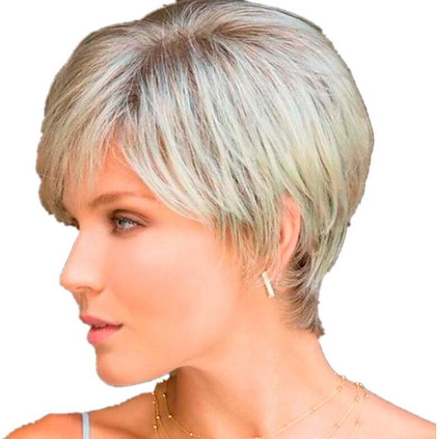 Costume Accessories Straight With Bangs Wig Short Light golden Synthetic Hair 26 inch Women's Women Dark Gray