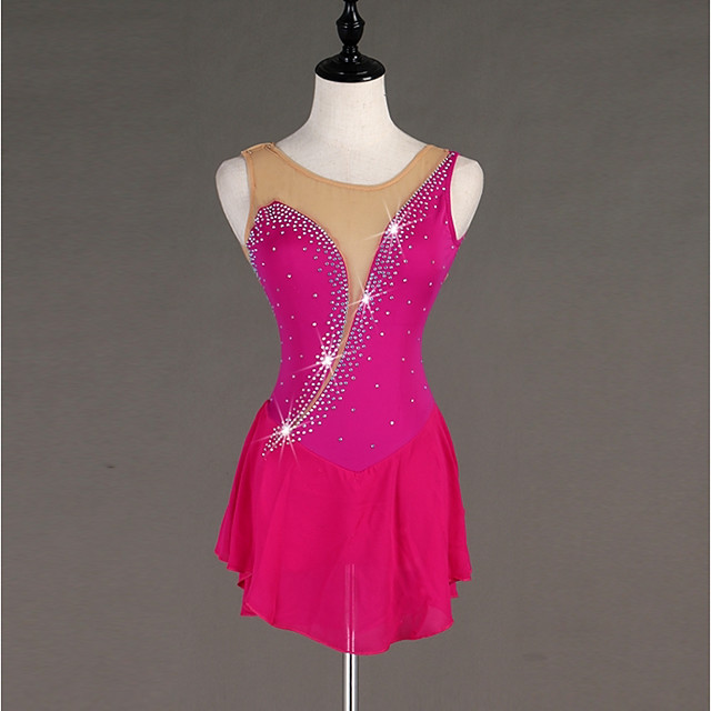 Figure Skating Dress Women's Ice Skating Dress Fuchsia Spandex Stretch Yarn Skating Wear Quick Dry Anatomic Design Handmade Classic Crystal / Rhinestone Sleeveless Ice Skating Figure Skating