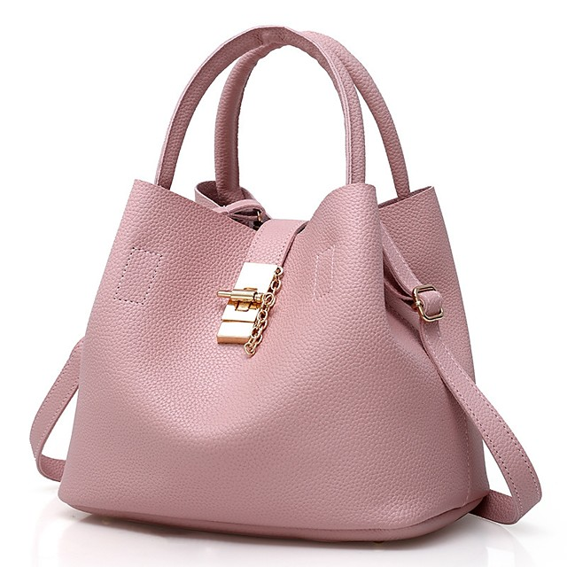 Women's Bags Patent Leather Shoulder Strap Bucket Bag Bag Set Zipper Solid Color Daily Holiday Handbags Black Red Blushing Pink