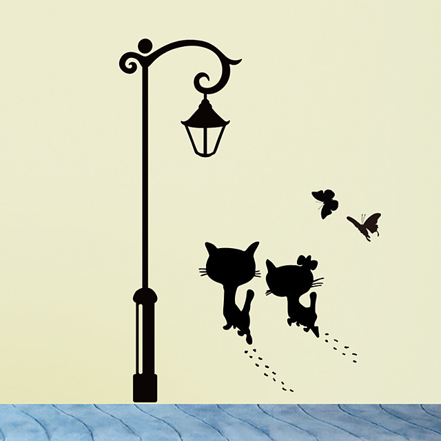 Cats UnderThe Street Light Wall Stickers Romantic Background for Home Decoration Mural Wallpaper Art Decals Love Cat Sticker