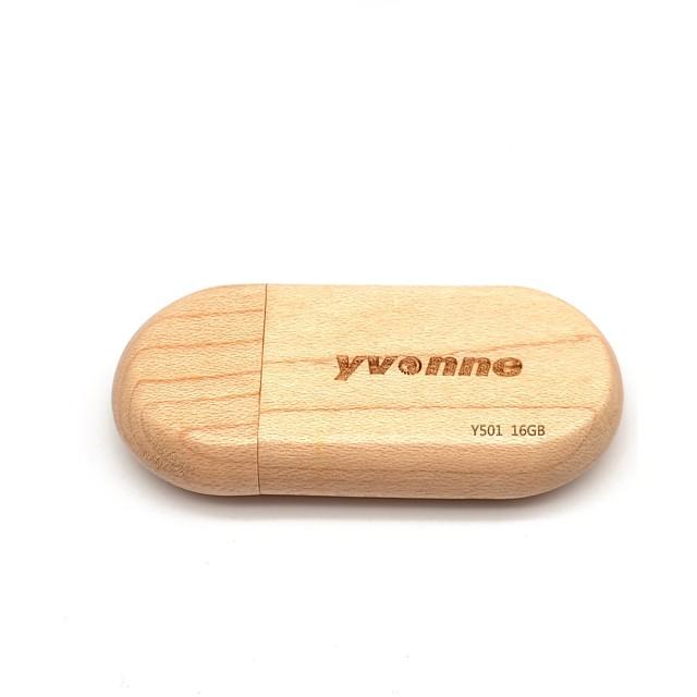 yvonne 16GB דיסק און קי דיסק USB USB 2.0 עץ / עץ / במבוק חצי מעגל עיצוב חדש / דגם גיאומטרי / חמוד Y501