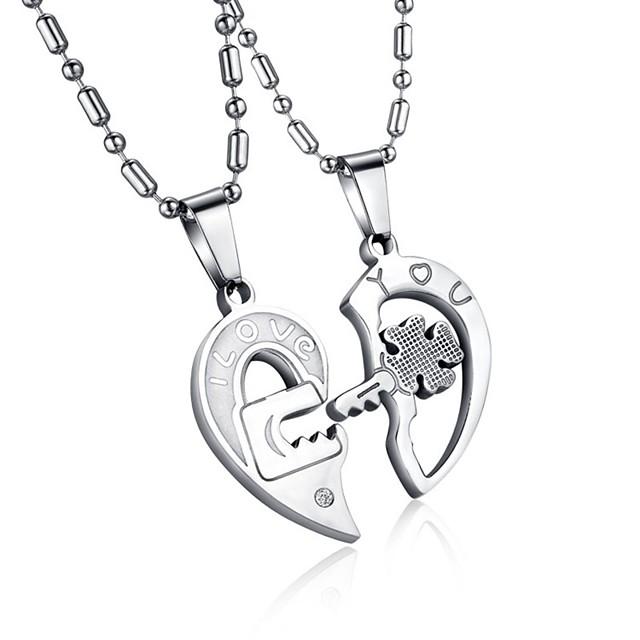 Men's Women's Clear AAA Cubic Zirconia Pendant Necklace Geometrical Broken Heart Heart Letter Hollow Heart Relationship Elegant Hip-Hop Steel Stainless Silver 50 cm Necklace Jewelry 2pcs For Wedding