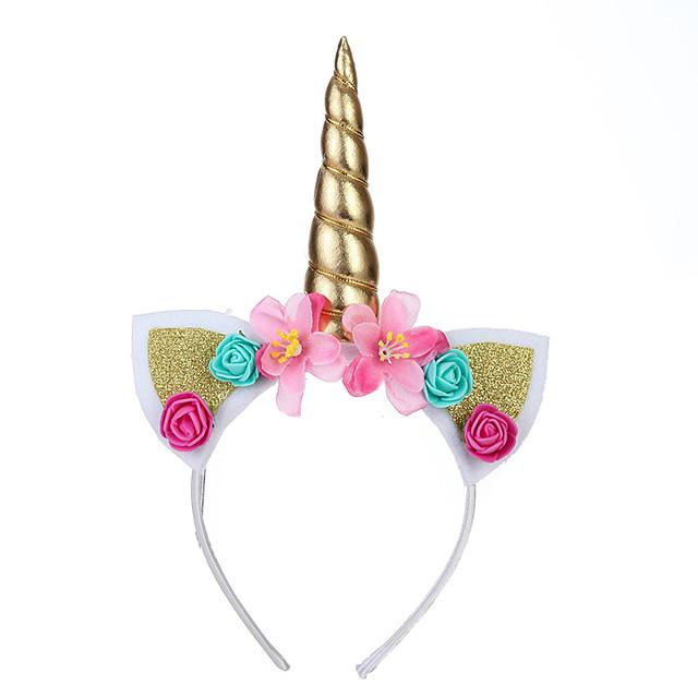 Unicorn Holiday Jewelry Girls' Movie Cosplay Headpieces Golden / White / Purple Headwear Christmas Halloween Carnival Plastics