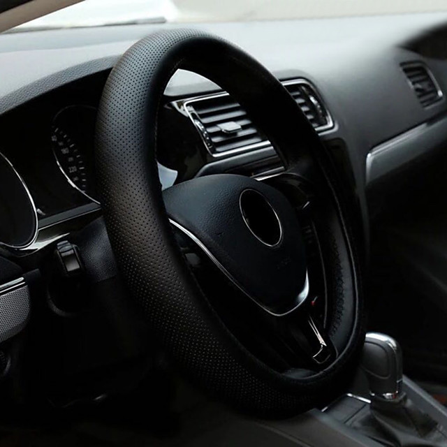 Steering Wheel Covers PU Leather 38cm Black For universal All Models All years
