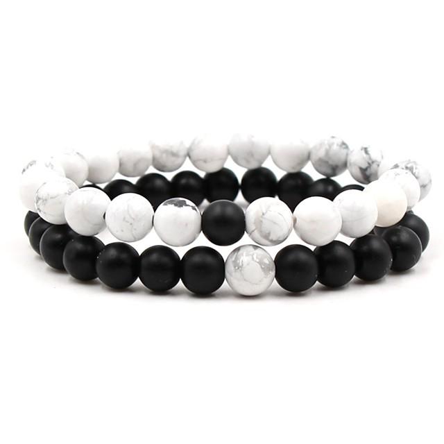 Men's Women's Black White Natural Stone Bead Bracelet Beaded Cathedral Ball Chakra Hip-Hop equilibrio Stone Bracelet Jewelry White / Black For Wedding Ceremony