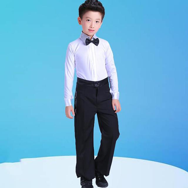 Latin Dance Kids' Dancewear Top Bow(s) Split Joint Boys' Training Performance Long Sleeve Polyester