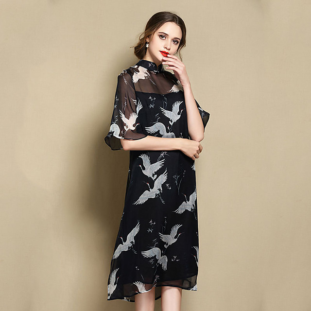 Adults' Women's Chinese Style Wasp-Waisted Dress Chinese Style Cheongsam Qipao For Engagement Party Bridal Shower 100% Silk Midi Dress