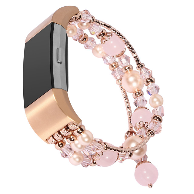 Watch Band for Fitbit Charge 2 / Fitbit Charge 3 Fitbit Jewelry Design Elastic Beaded Wrist Strap