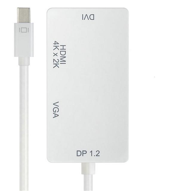 Mini DisplayPort to HDMI 2.0 / DVI / VGA USB Hub 3 Ports Data Hold