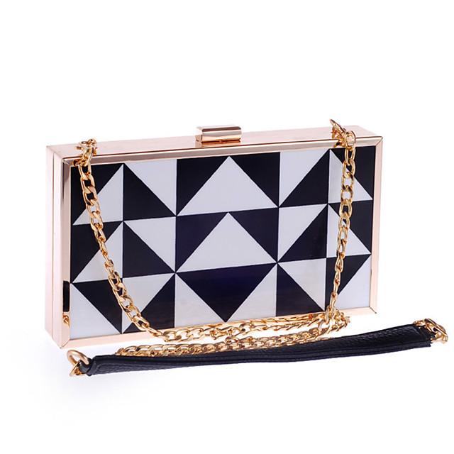 Women's Chain Acrylic / Polyester Evening Bag Geometric Pattern Black
