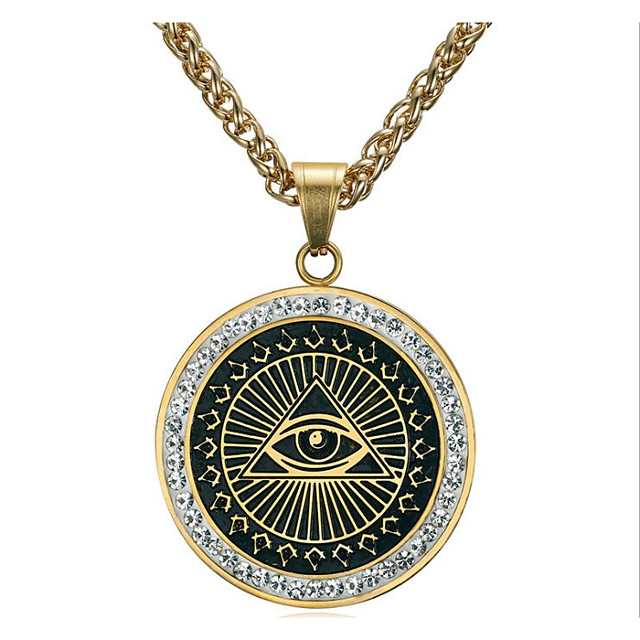 Men's Cubic Zirconia Pendant Necklace Classic Totem Series Eyes Fashion Titanium Steel Gold Silver 60 cm Necklace Jewelry 1pc For Daily Holiday