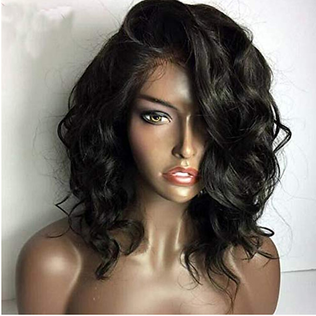 Human Hair Lace Front Wig Bob Short Bob Side Part style Brazilian Hair Wavy Black Wig 130% Density with Baby Hair Natural Hairline For Black Women 100% Virgin 100% Hand Tied Women's Short Human Hair