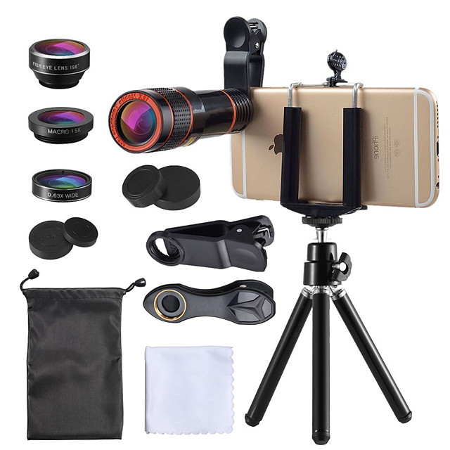 Mobile Phone Lens Fish-Eye Lens / Long Focal Lens / Wide-Angle Lens Glasses / Plastic 10X and above 35 mm 15 m 198 ° Lens with Stand