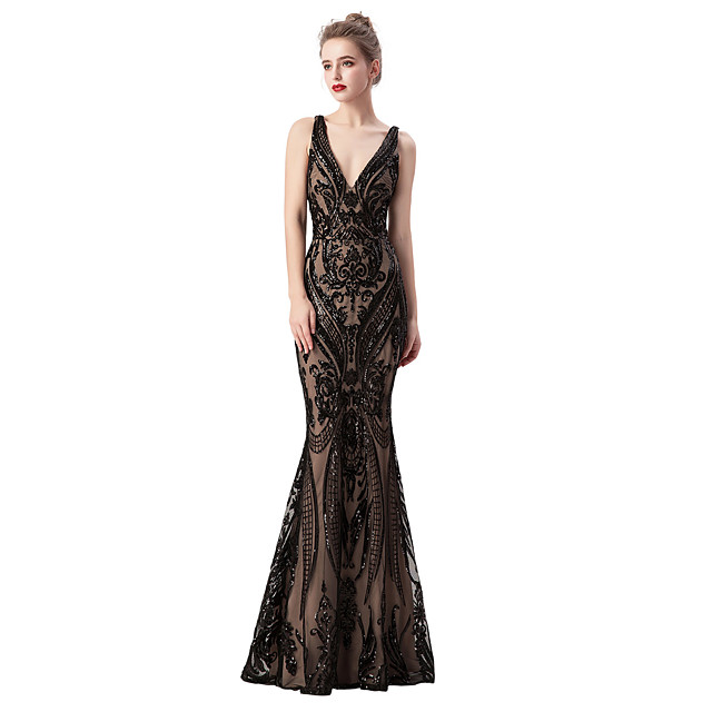 Mermaid / Trumpet Beautiful Back Sparkle & Shine Formal Evening Dress Plunging Neck Sleeveless Sweep / Brush Train Tulle Sequined with Sash / Ribbon Beading Sequin 2020