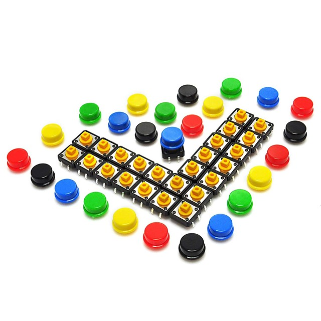 12*12*7.3mm Tact Tactile Push Button Momentary SMD PCB Switch with Cap for Arduino (Pack of 25pcs)