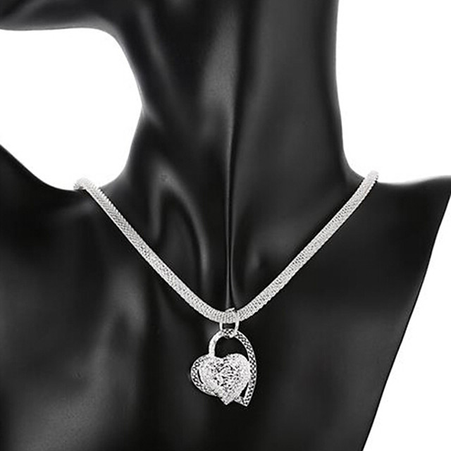 Women's Pendant Necklace Heart Love Hollow Heart Ladies Bridal Italian everyday Sterling Silver Silver Necklace Jewelry 1pc For Wedding Party Anniversary Birthday Daily Casual