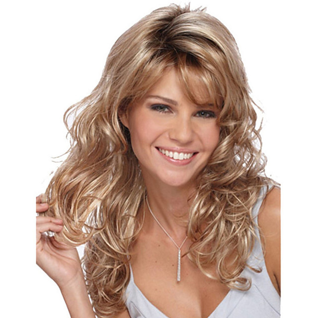 Sintetičke perike Šiške Kovrčav Stražnji dio Perika Zlatna Dug Svijetlo zlatna Sintentička kosa 26 inch Žene Modni dizajn Žene sintetički Zlatna