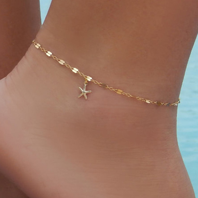Ankle Bracelet feet jewelry Simple Trendy Hotwife Women's Body Jewelry For Daily Single Strand Alloy Star Starfish Gold Silver 1pc