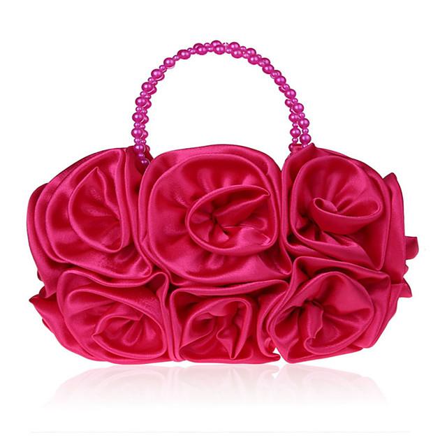 Women's Girls' Bags Silk Top Handle Bag Beading Flower Handbags Wedding Event / Party Red Fuchsia