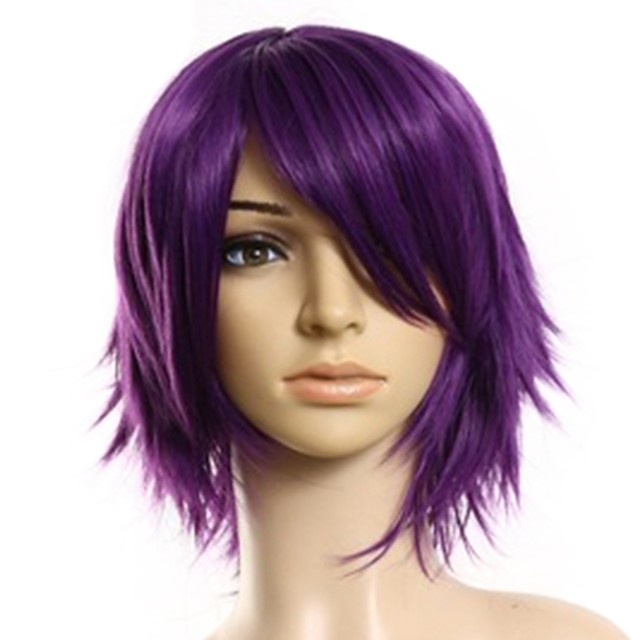 Cosplay Costume Wig Headpiece Precolored Hair Weaves kinky Straight Side Part Wig Medium Length Black / Purple Synthetic Hair 14 inch Women's Cosplay Creative Smooth Purple