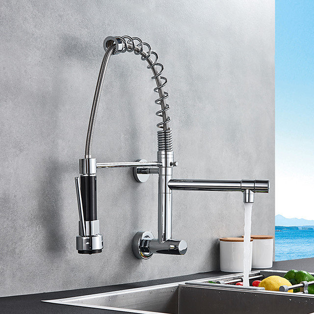 Single Handle Two Holes Kitchen Faucet Chrome Pull-out Wall Mounted Contemporary Kitchen Taps Brass Only Cold Water