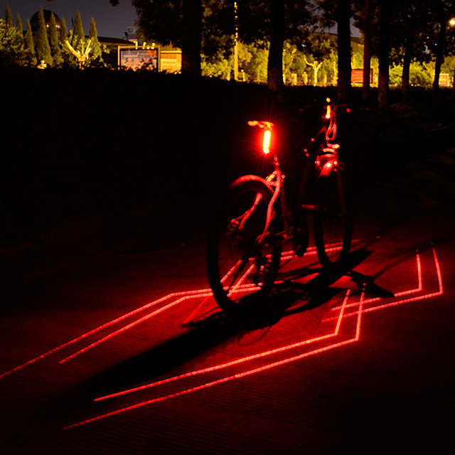 Laser LED Bike Light Rear Bike Tail Light Safety Light Mountain Bike MTB Bicycle Cycling Waterproof Multiple Modes Super Brightest Safety Li-ion 80 lm Rechargeable USB Red Camping / Hiking / Caving